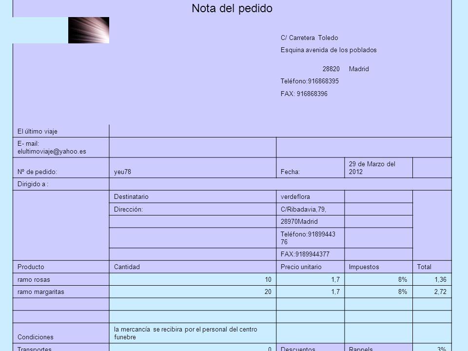 Nota del pedido C/ Carretera Toledo Esquina avenida de los poblados