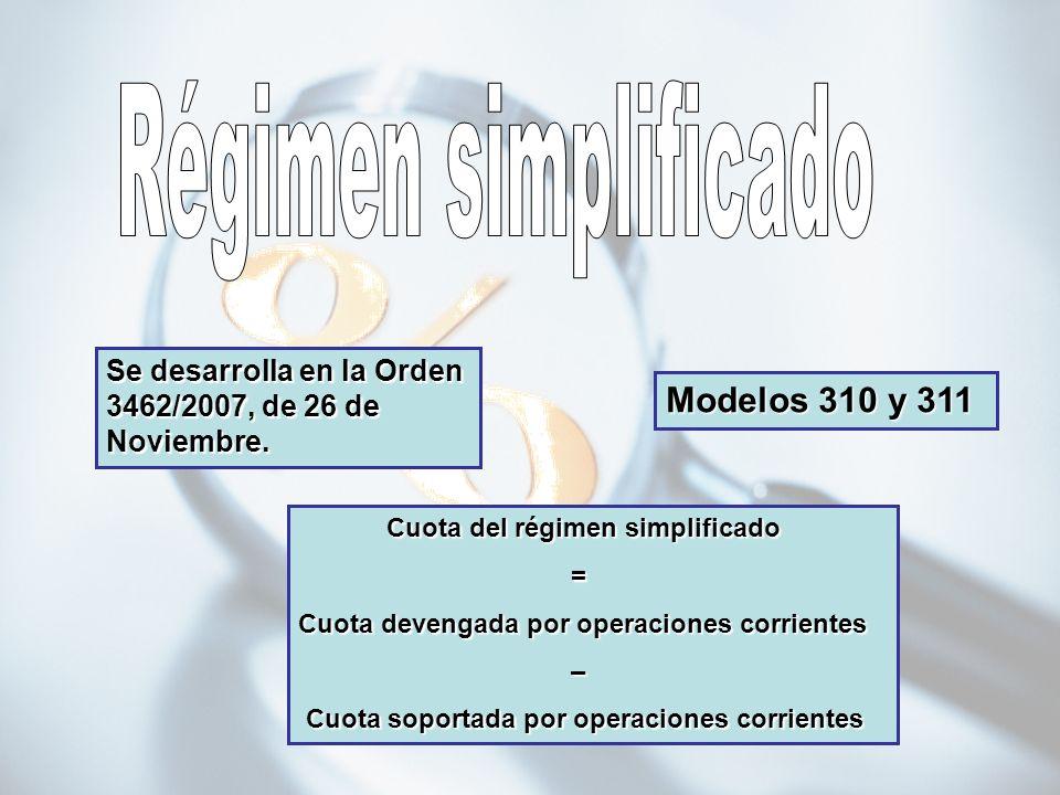 Régimen simplificado Modelos 310 y 311