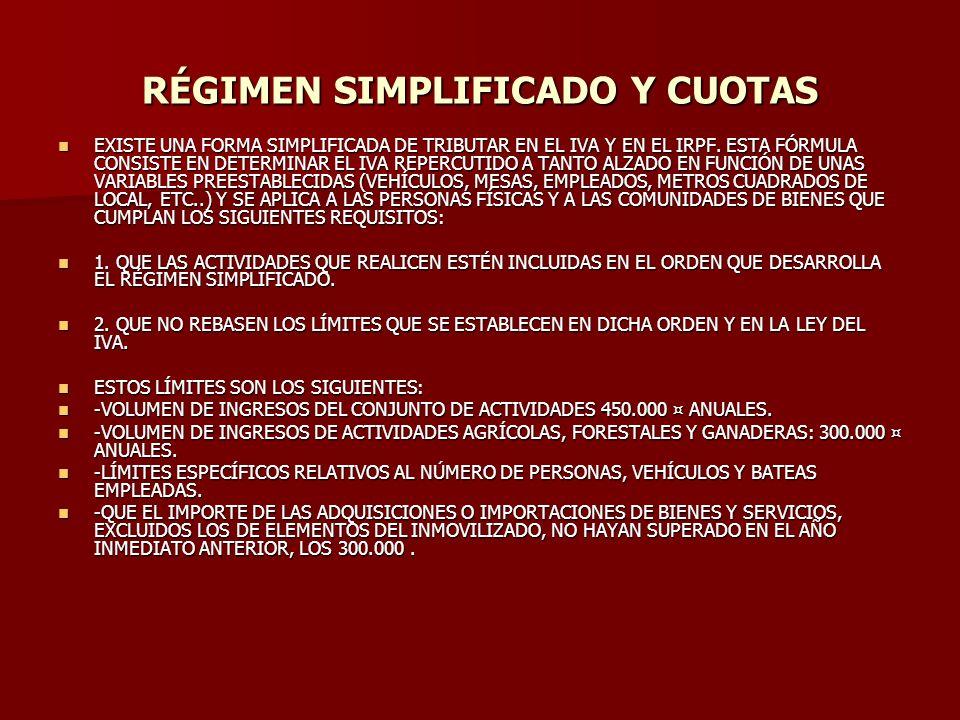 RÉGIMEN SIMPLIFICADO Y CUOTAS