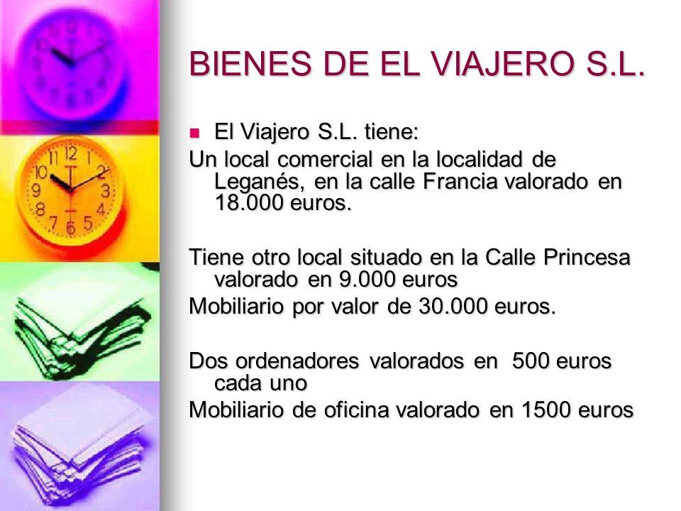 BIENES DE EL VIAJERO S.L. El Viajero S.L. tiene: