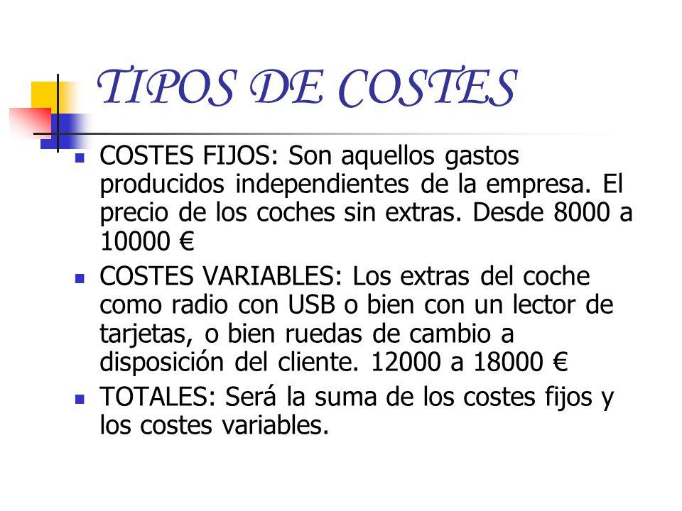 TIPOS DE COSTES COSTES FIJOS: Son aquellos gastos producidos independientes de la empresa. El precio de los coches sin extras. Desde 8000 a 10000 €