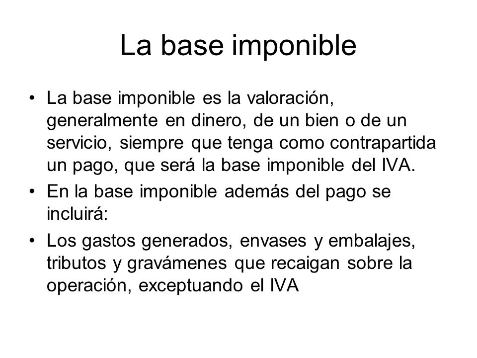 La base imponible