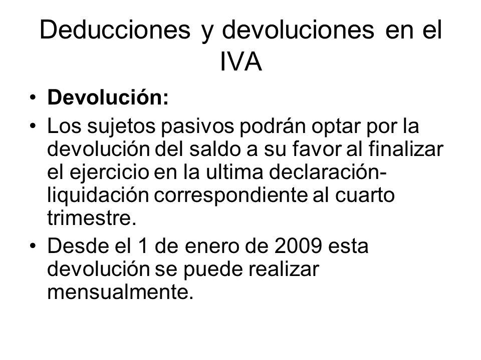 Deducciones y devoluciones en el IVA