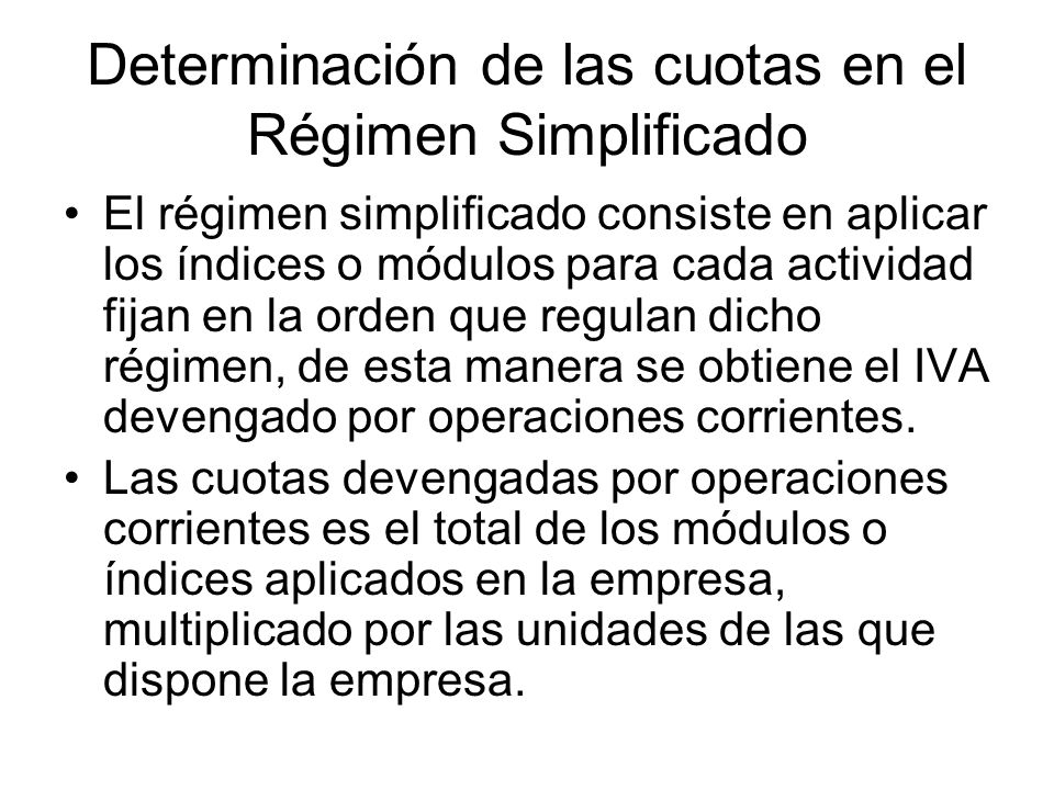 Determinación de las cuotas en el Régimen Simplificado
