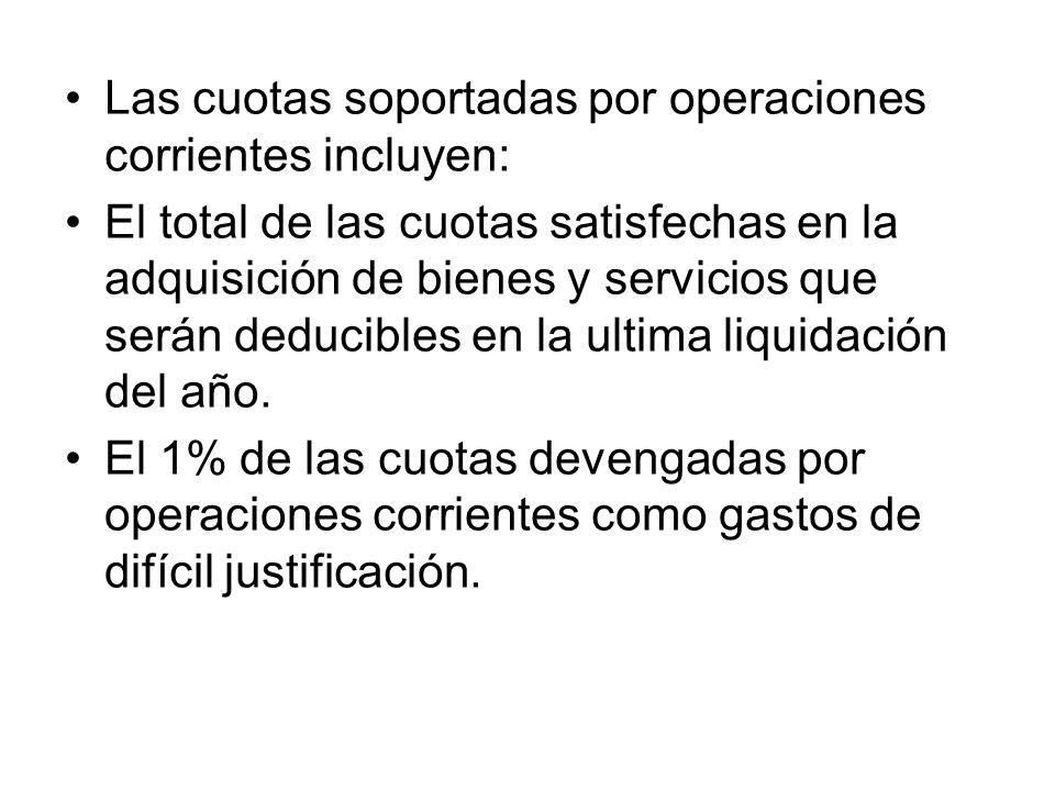 Las cuotas soportadas por operaciones corrientes incluyen:
