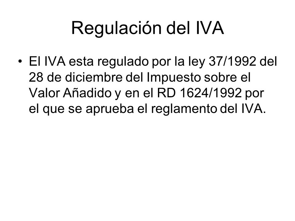 Regulación del IVA