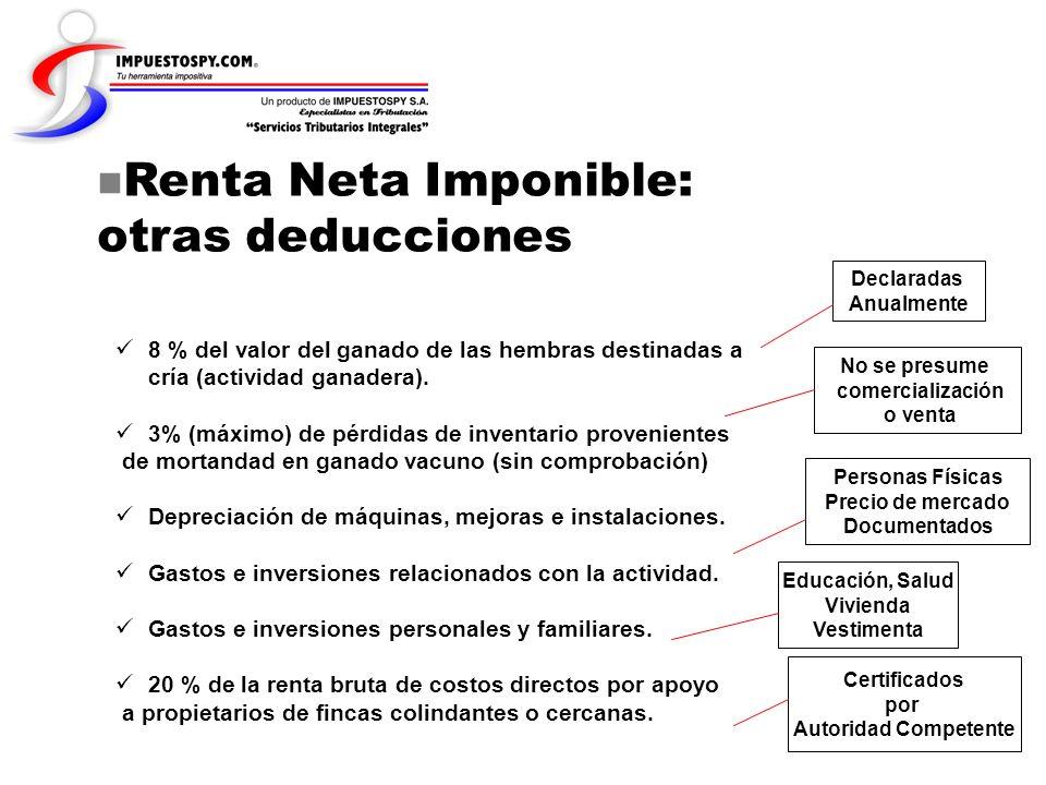 Renta Neta Imponible: otras deducciones