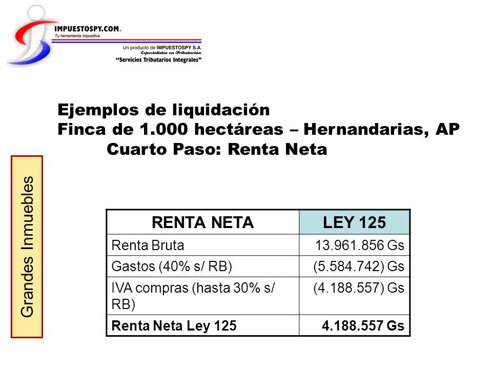 Ejemplos de liquidación Finca de 1.000 hectáreas – Hernandarias, AP