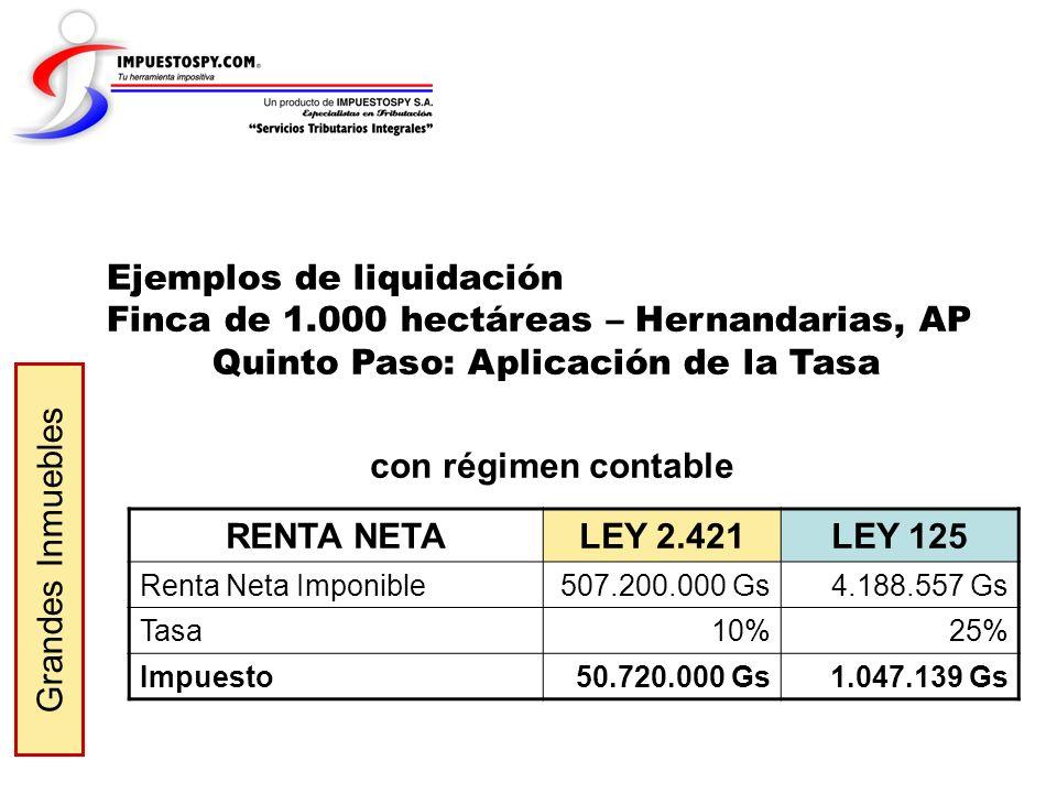 con régimen contable RENTA NETA LEY 2.421 LEY 125