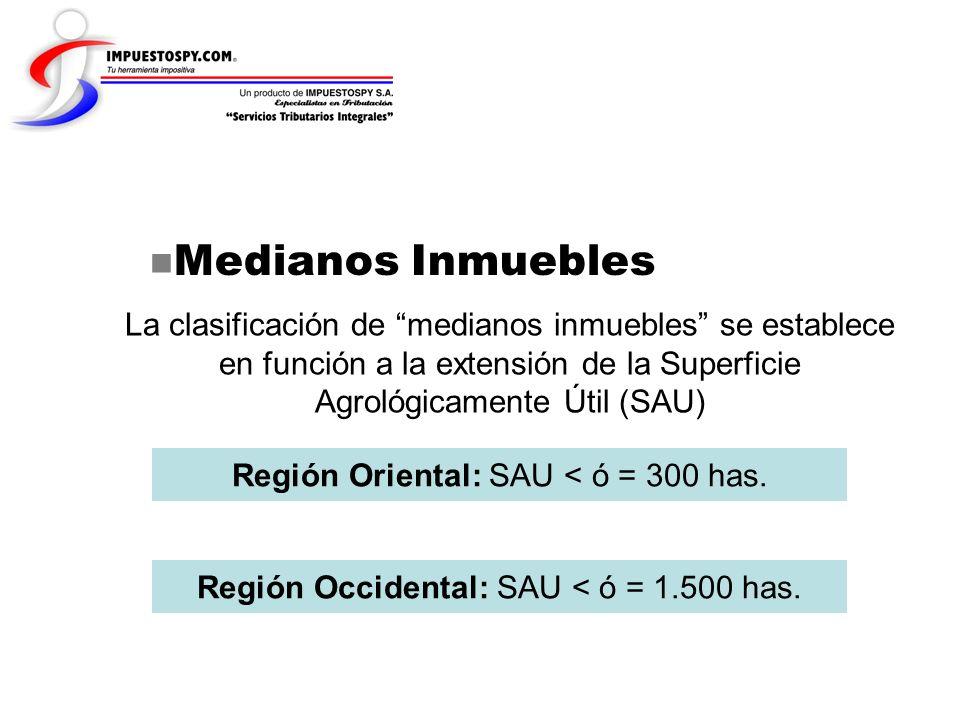 Medianos Inmuebles La clasificación de medianos inmuebles se establece en función a la extensión de la Superficie Agrológicamente Útil (SAU)
