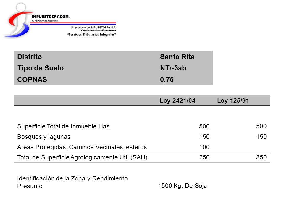 Distrito Santa Rita Tipo de Suelo NTr-3ab COPNAS 0,75 Ley 2421/04