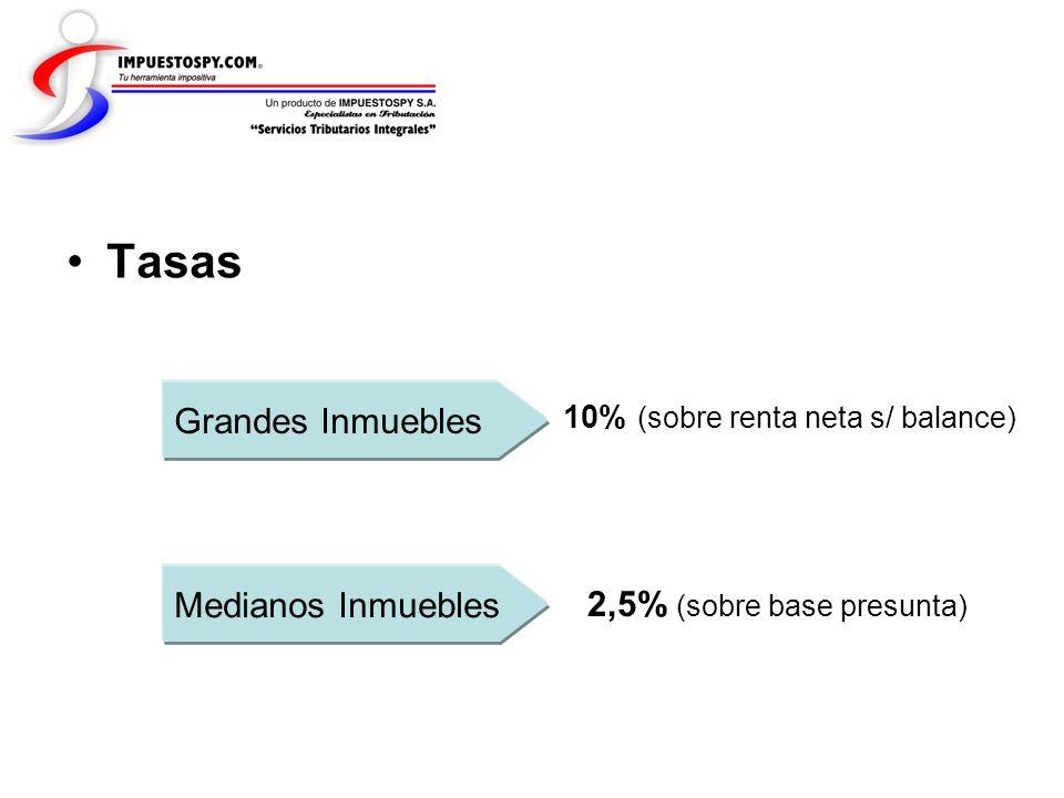 Tasas Grandes Inmuebles Medianos Inmuebles 2,5% (sobre base presunta)