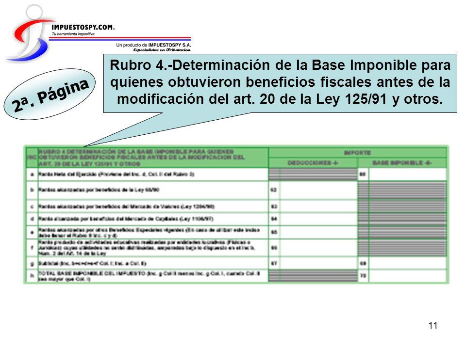 Rubro 4.-Determinación de la Base Imponible para quienes obtuvieron beneficios fiscales antes de la modificación del art. 20 de la Ley 125/91 y otros.