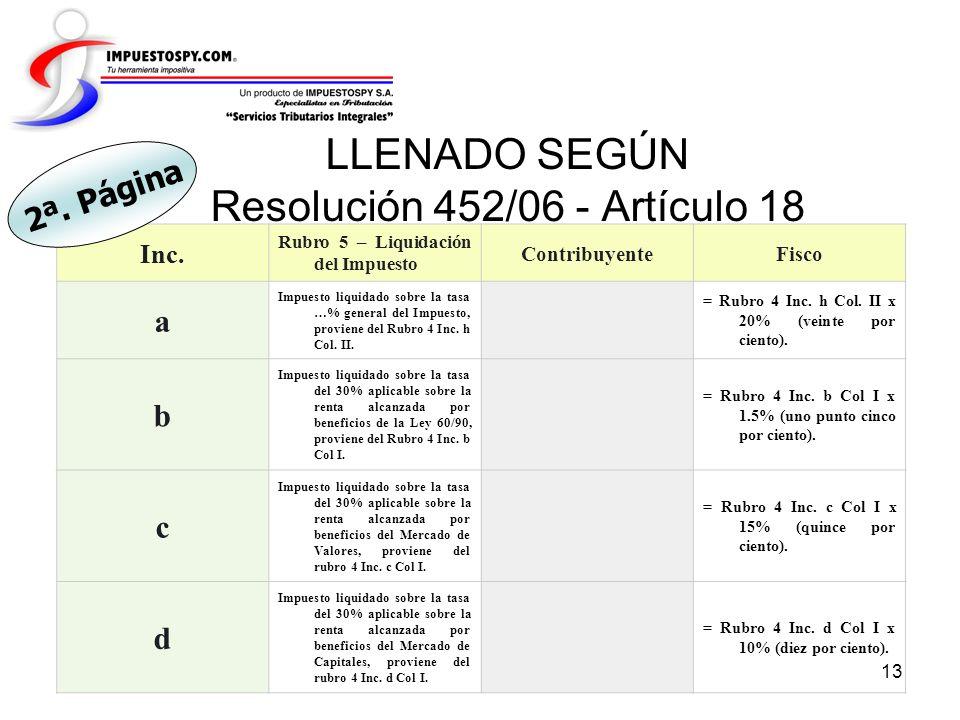 LLENADO SEGÚN Resolución 452/06 - Artículo 18