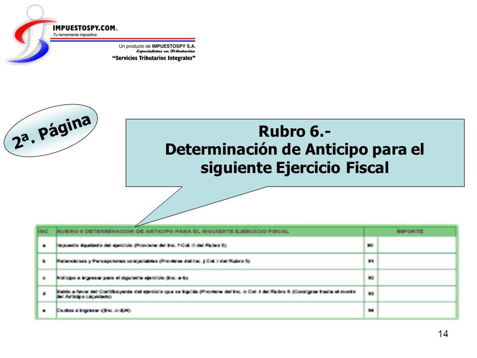 Determinación de Anticipo para el siguiente Ejercicio Fiscal