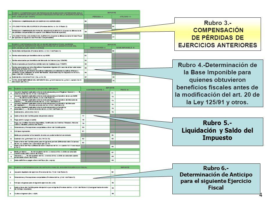 DE PÉRDIDAS DE EJERCICIOS ANTERIORES