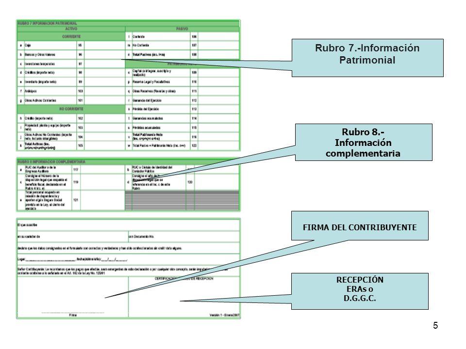Rubro 7.-Información Patrimonial