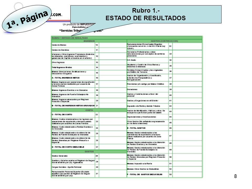Rubro 1.- ESTADO DE RESULTADOS 1ª. Página