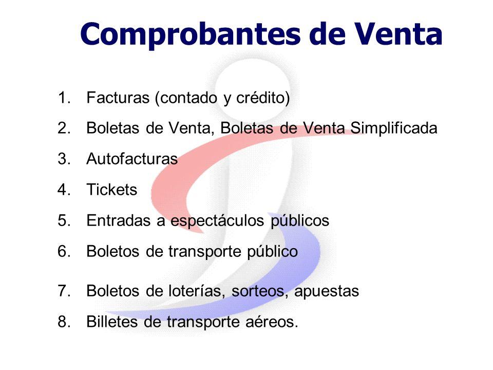 Comprobantes de Venta Facturas (contado y crédito)