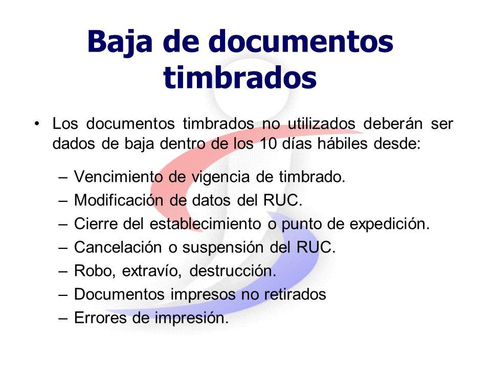 Baja de documentos timbrados