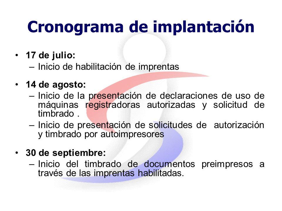 Cronograma de implantación