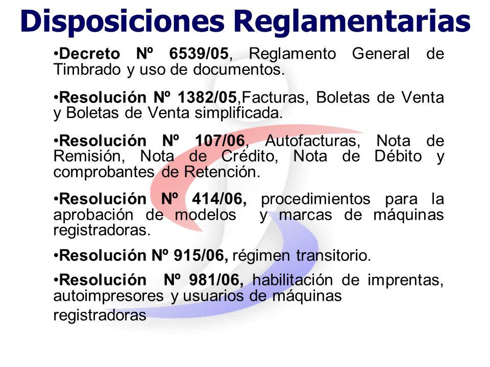 Disposiciones Reglamentarias