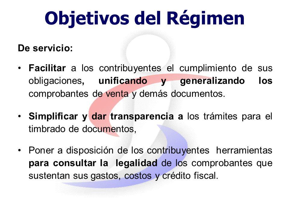 Objetivos del Régimen De servicio: