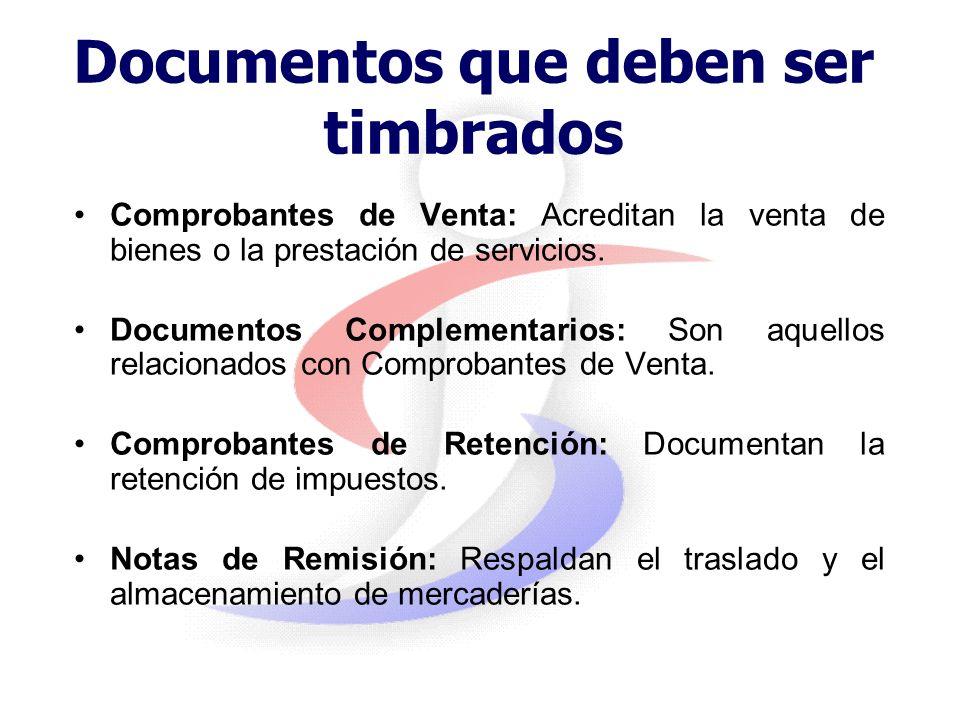 Documentos que deben ser timbrados