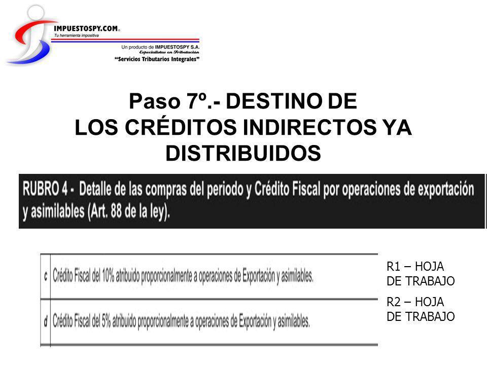 Paso 7º.- DESTINO DE LOS CRÉDITOS INDIRECTOS YA DISTRIBUIDOS