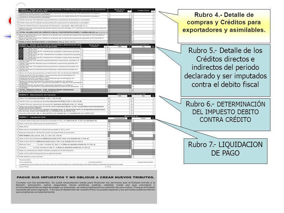 Rubro 6.- DETERMINACIÓN DEL IMPUESTO DEBITO CONTRA CRÉDITO