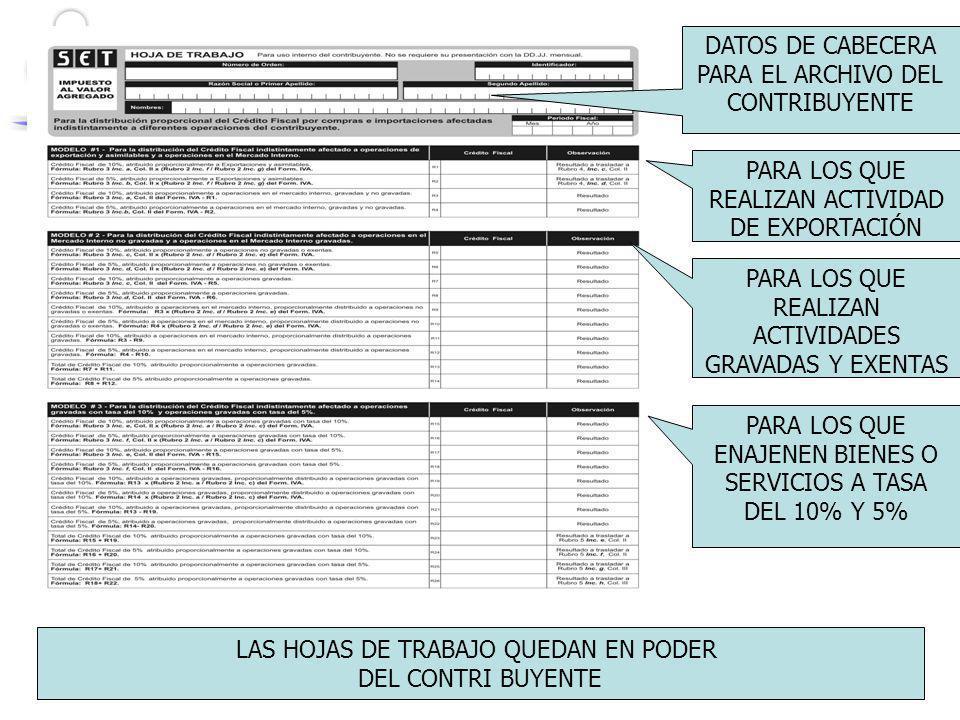 DATOS DE CABECERA PARA EL ARCHIVO DEL CONTRIBUYENTE