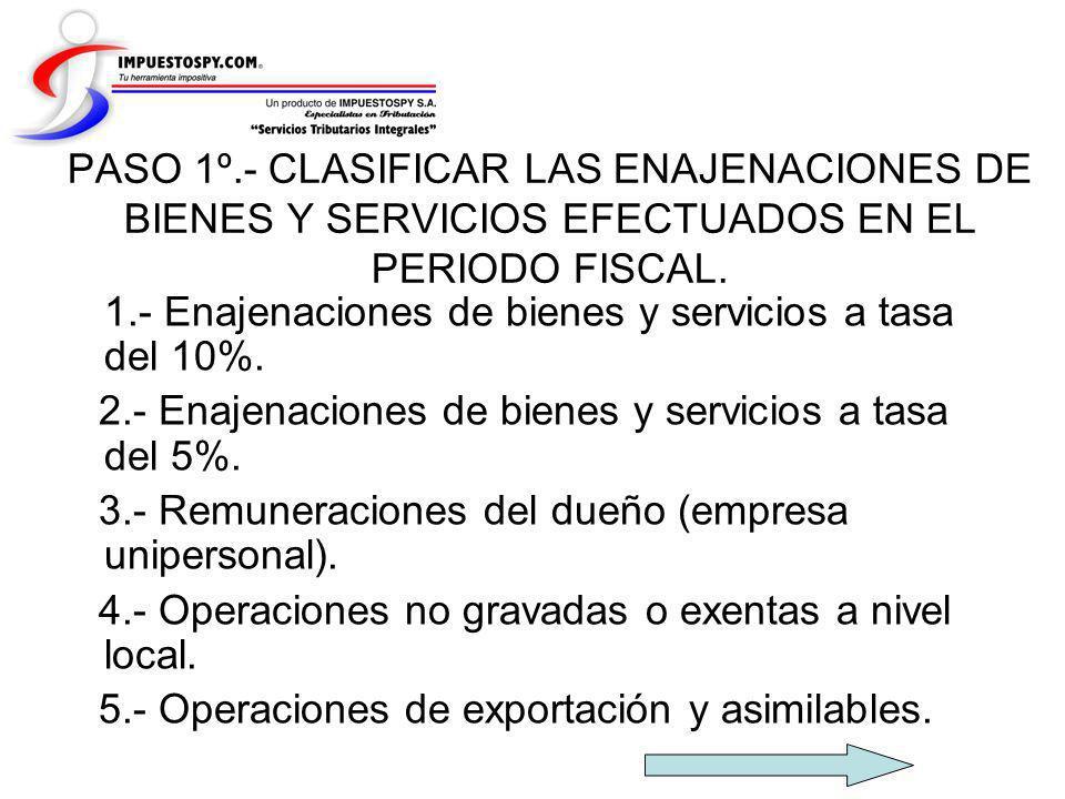 PASO 1º.- CLASIFICAR LAS ENAJENACIONES DE BIENES Y SERVICIOS EFECTUADOS EN EL PERIODO FISCAL.