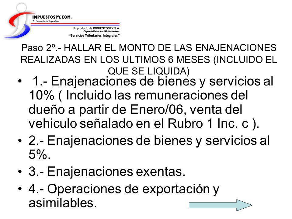 2.- Enajenaciones de bienes y servicios al 5%.