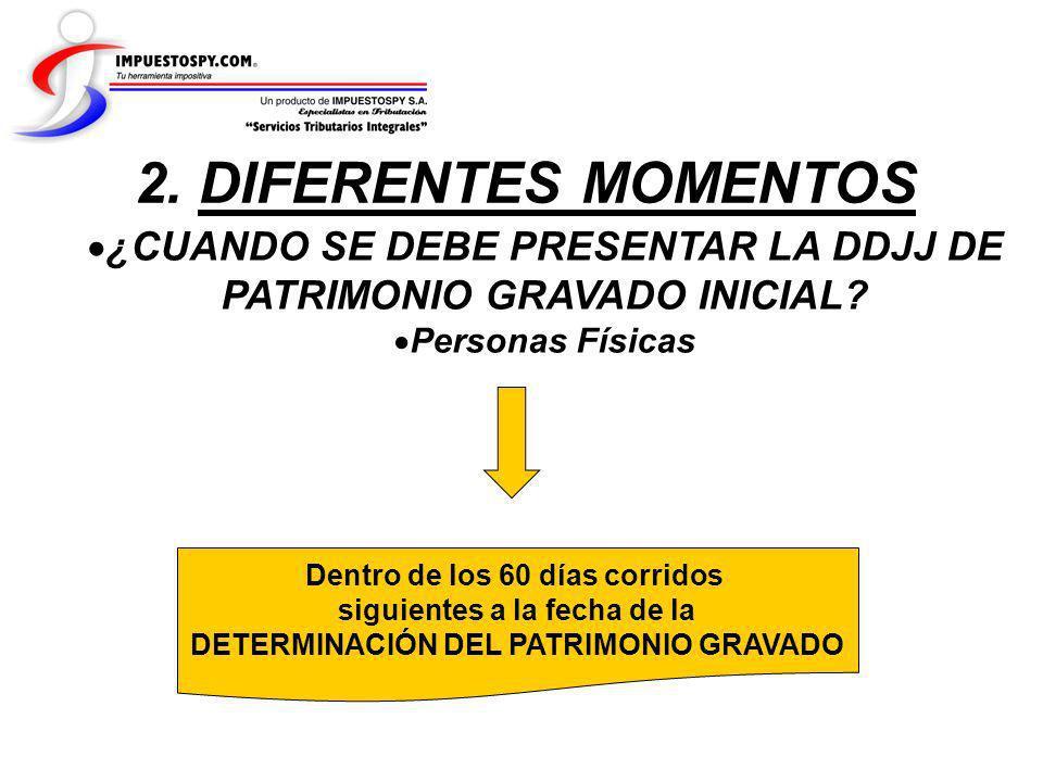 2. DIFERENTES MOMENTOS ¿CUANDO SE DEBE PRESENTAR LA DDJJ DE PATRIMONIO GRAVADO INICIAL Personas Físicas.