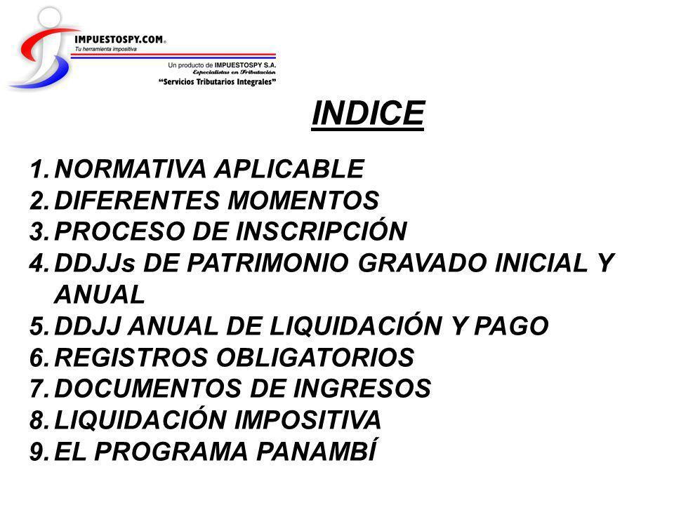 INDICE NORMATIVA APLICABLE DIFERENTES MOMENTOS PROCESO DE INSCRIPCIÓN