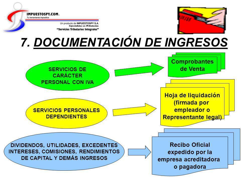 7. DOCUMENTACIÓN DE INGRESOS