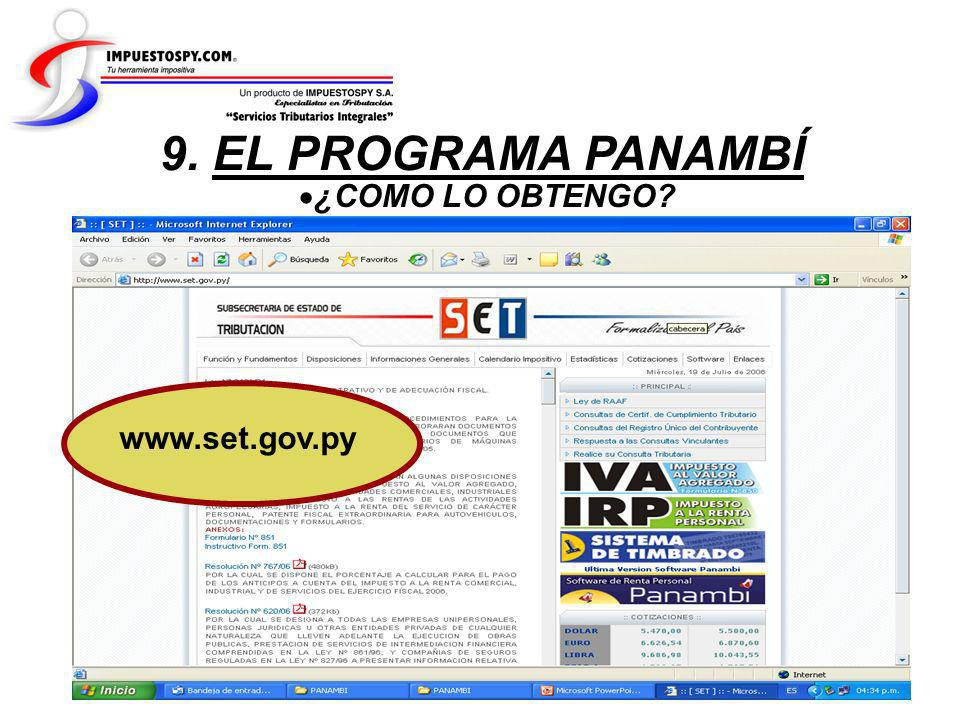 9. EL PROGRAMA PANAMBÍ ¿COMO LO OBTENGO www.set.gov.py