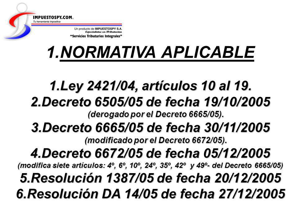 NORMATIVA APLICABLE Ley 2421/04, artículos 10 al 19.