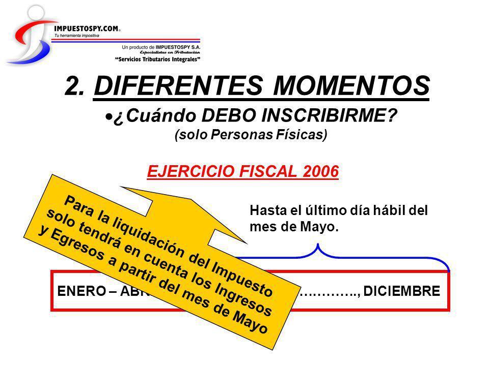 2. DIFERENTES MOMENTOS ¿Cuándo DEBO INSCRIBIRME EJERCICIO FISCAL 2006