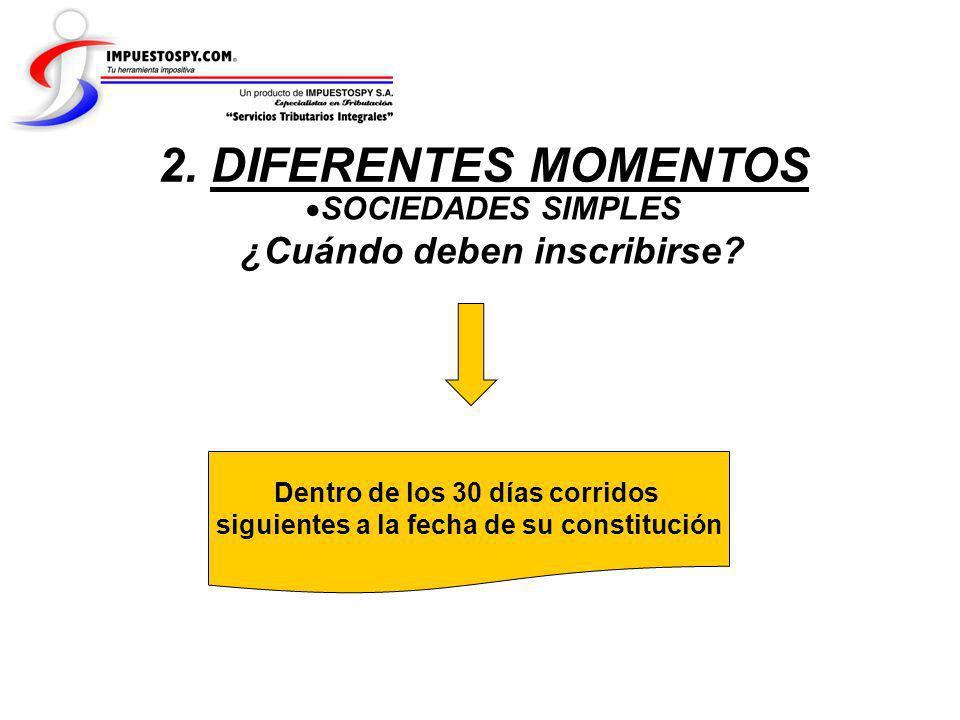 2. DIFERENTES MOMENTOS ¿Cuándo deben inscribirse SOCIEDADES SIMPLES