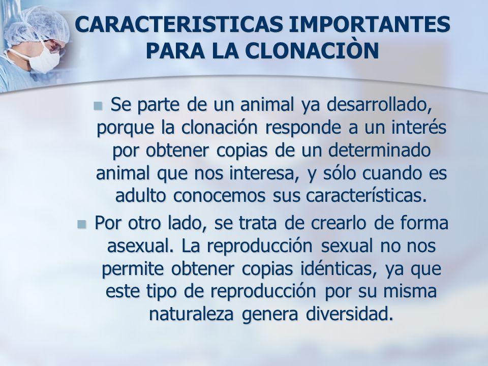 CARACTERISTICAS IMPORTANTES PARA LA CLONACIÒN