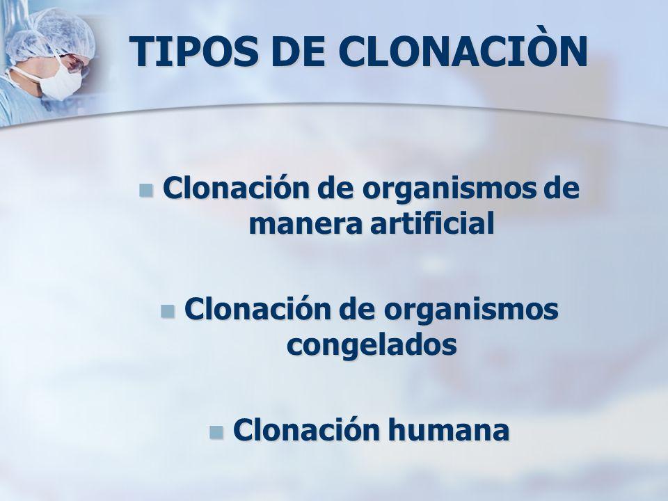 TIPOS DE CLONACIÒN Clonación de organismos de manera artificial