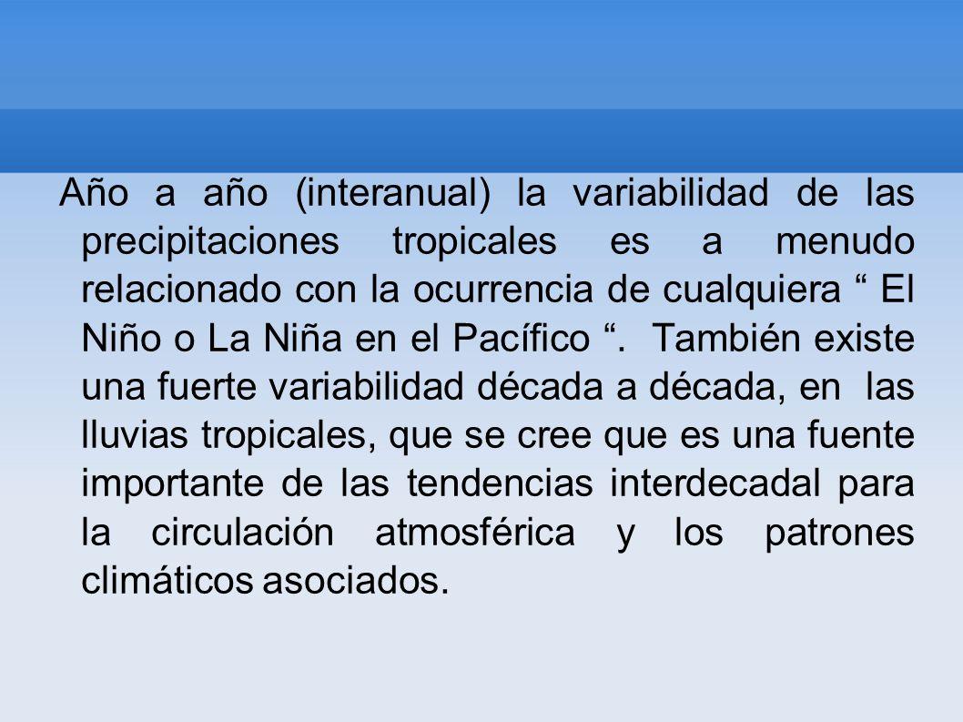 Año a año (interanual) la variabilidad de las precipitaciones tropicales es a menudo relacionado con la ocurrencia de cualquiera El Niño o La Niña en el Pacífico .