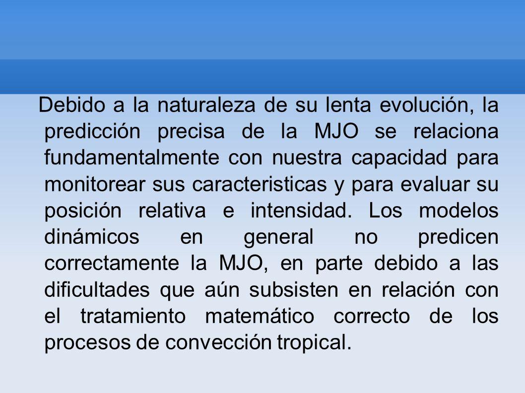 Debido a la naturaleza de su lenta evolución, la predicción precisa de la MJO se relaciona fundamentalmente con nuestra capacidad para monitorear sus caracteristicas y para evaluar su posición relativa e intensidad.
