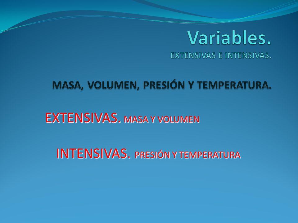 EXTENSIVAS. MASA Y VOLUMEN INTENSIVAS. PRESIÓN Y TEMPERATURA