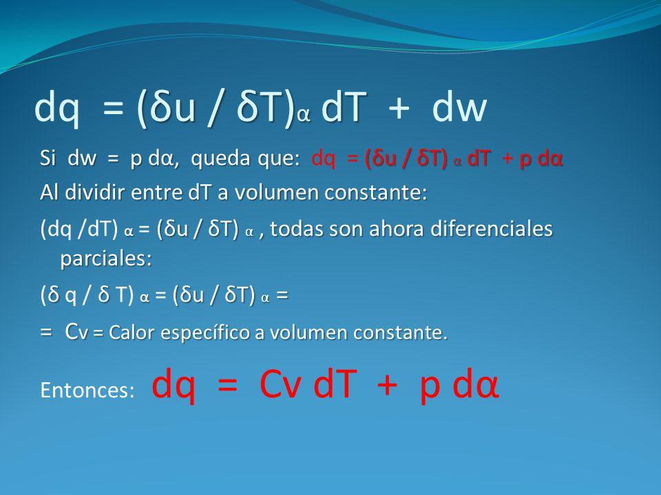 dq = (δu / δT)α dT + dw = Cv = Calor específico a volumen constante.