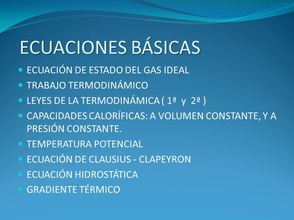ECUACIONES BÁSICAS ECUACIÓN DE ESTADO DEL GAS IDEAL