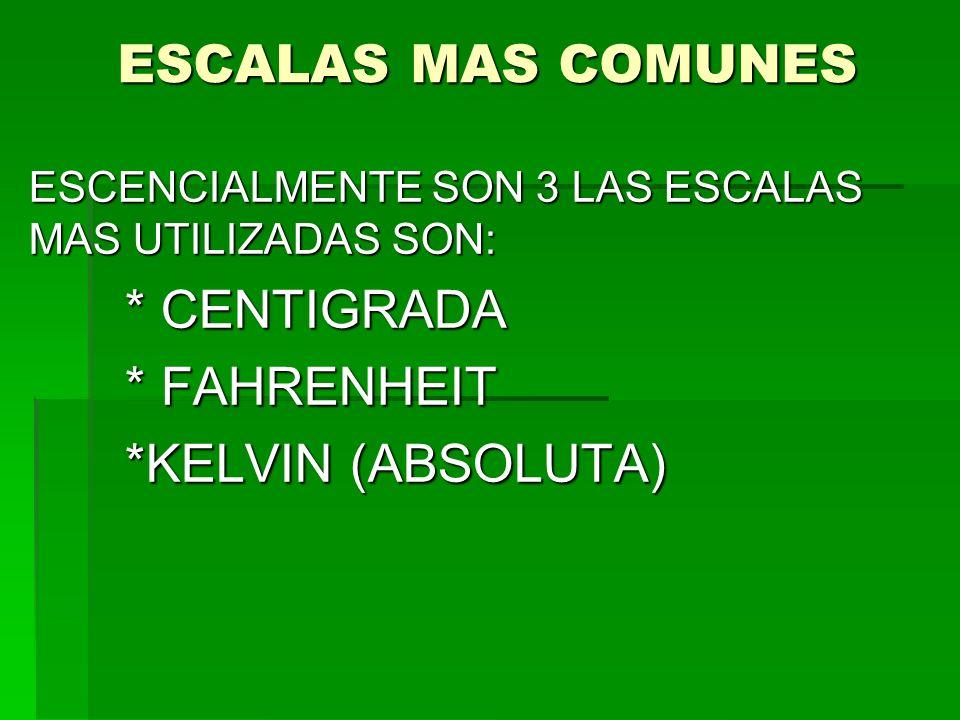 ESCALAS MAS COMUNES * FAHRENHEIT *KELVIN (ABSOLUTA)