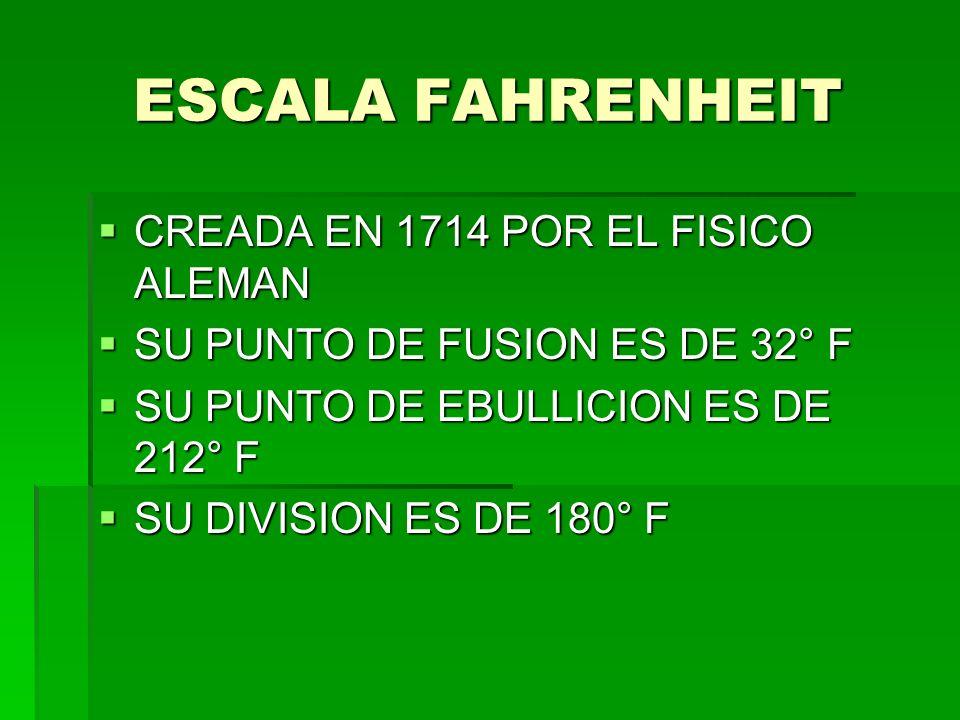 ESCALA FAHRENHEIT CREADA EN 1714 POR EL FISICO ALEMAN
