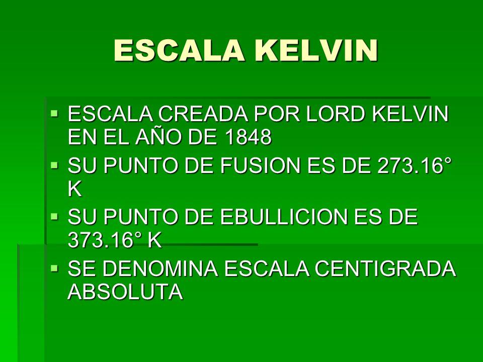 ESCALA KELVIN ESCALA CREADA POR LORD KELVIN EN EL AÑO DE 1848
